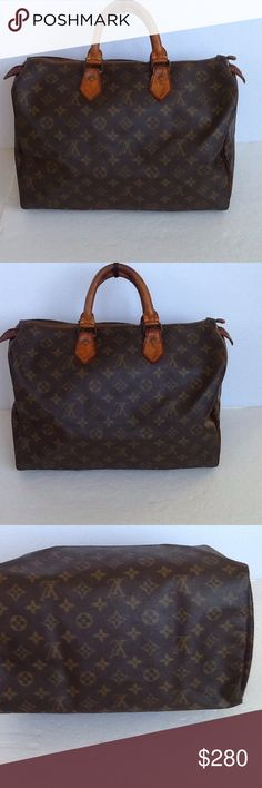 Authentic Louis Vuitton Speedy 35 Monogram Satchel Leather and straps showed signs of used and had some stains. The straps are darker in the middle. No date code and inside pocket as the bag was made before 1980. The hardwares had Louis Vuitton stamp on them. The dimension is 10, 13 and 8 Louis Vuitton Bags Satchels