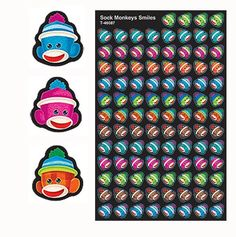 800 Sock Monkeys superShapes reward Stickers - Sticker Stocker