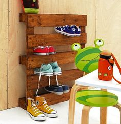 Kids' Room Storage DIY Projects - Bob Vila Finding a shipping pallet free of chemical treatment, termite infestation, and mold growth is no easy trick. But if you can procure one, you're halfway to completing this kids' room storage rack, perfect for sneakers and athletic shoes. Coat on a stain, then fasten your pallet to the wall. No woodworking required!