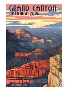 Grand Canyon National Park - Mather Point Premium Giclee Print by Lantern Press at Art.com