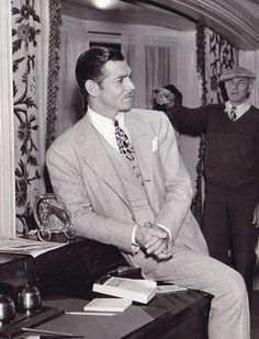 Clark Gable on set.