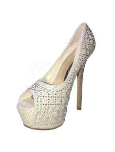Sexy Platform Wedding Shoes Peep High Heel Pearls Pumps Rhinestone Party