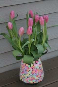 Valentine's Day floral arrangement. Add a little Lunchbox Love for an added bit of sweetness and love. www.sayplease.com