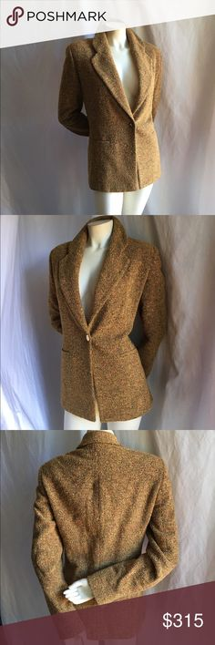 Burberry M Boucle Tweed Blazer Longline Vintage 100% Authentic vintage Burberry women's single button blazer. Marked size 6, but fits more like an 8 in my opinion. Long sleeves and the famous horse and rider logo gold embossed button. Accepting offers! Burberry Jackets & Coats Blazers