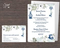 Navy & White Alice in Wonderland Invitation Template | FREE Response Card | EDITABLE Text | Word / Pages Pc and Mac by ScriptAndLily on Etsy