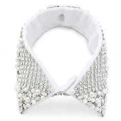 Erickson Beamon colletto camicia bianco con applicazioni silver.