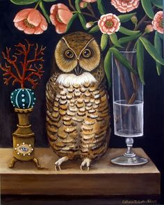 "Curious and Wise - New Original 14x11"" Acrylic Painting on Wood   by artist Catherine Nolin 