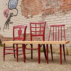Greene Ave. Bench: upcycled chairs by 31 & Change | Please subscribe to my weekly newsletter at upcycledzine.com ! #upcycle