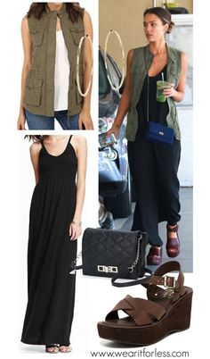 Jessica Alba in a black maxi dress and utility vest - get the look for less! www.wearitforless.com