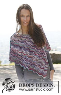 "Louise - Knitted DROPS poncho with zigzag pattern in ""Fabel"". Size: S - XXXL. - Free pattern by DROPS Design"