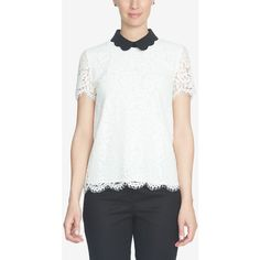 CeCe Lace Peter Pan-Collar Top ($129) ❤ liked on Polyvore featuring tops, new ivory, scallop top, collar top, peter pan top, lacy white top and lacy tops