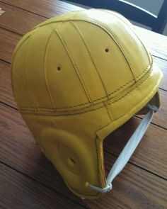GREEN BAY PACKERS NFL VINTAGE THROWBACK 1940 GOLD YELLOW LEATHER FOOTBALL HELMET