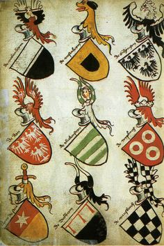 Social Profiling / avatars: As well as protecting the wearer - coats of arms were designed to tell a story about the status of the bearer - changing as they were passed down from father to son, whilst some might also say they were the precursors to modern day corporate logos representing a group identity. This illustration taken from the 15th century German Hyghalmen Roll, beautifuly illustrates the practise of thematic repetition