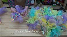How to Make deco mesh wreaths | How to make an Easter Deco Mesh Wreath, via YouTube. | Crafty