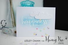 I am sprinkling a little happiness over on the @honeybeestamps blog today with this card featuring the awesome #HoneyBeeStamps #happiness stamp set! I love the way you can create lots of feature words with one set, along with bucketloads of complete greetings!  #HoneyBeeStamps #stamping #embossing #distressink #inkblending #clouds #cardmaking #rain #love #bekind #sharehandmadekindness