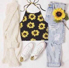 shirt sleeveless sunflower sunflower shirt 90s style black vintage 90's shirt cardigan jeans