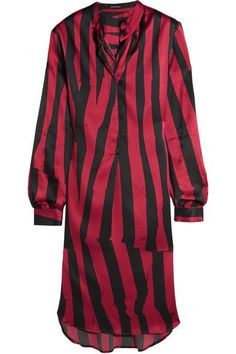 Ann Demeulemeester - Striped Stretch-silk Satin Tunic - Claret - FR44