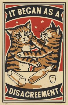 Three color screen print by Arna Miller & Ravi Zupa, featuring fun and whimsical images of cats drinking at bars. Available for purchase online through Spoke Art Gallery. Screen Print Poster, Poster Prints, I Love Cats, Crazy Cats, Drunk Cat, Spoke Art, Illustration Art, Illustrations, Matchbox Art
