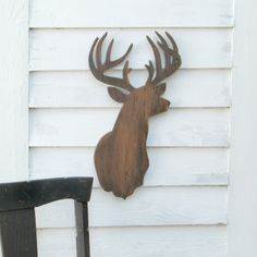 Deer Head Sign Modern Muddy Brown Wooden Trophy Buck Rustic Woodland-- Ready to Ship Wooden Wall Art, Wooden Walls, Wooden Signs, Home Decor Styles, Cheap Home Decor, Diy Home Decor, Country Decor, Rustic Decor, Deer Signs