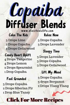 These diffuser blends using copaiba essential oil are great for calming the kids, uplifting your mood, helping you relax and get to sleep. Try these blends in your diffuser. #essentialoil #diffuserblends #youngliving #doterra #isagenix #eo #naturalremedies #naturalbeauty