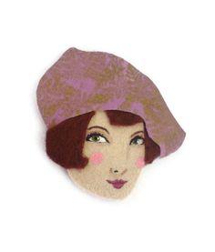 French Girl Fabric Brooch Felt Brooch Art Brooch by yalipaz, $12.00