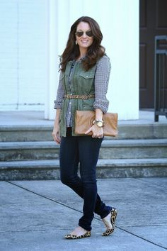 Fall fashion with Peaches In A Pod.  Military vest, gingham top, and leopard flats.