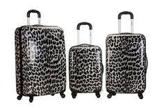 Rockland Luggage Set 3PC Spinner Suitcase Hardcase Expandable Snow Leopard TSA #Rockland
