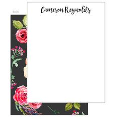 Black Floral Bunch Flat Note Cards