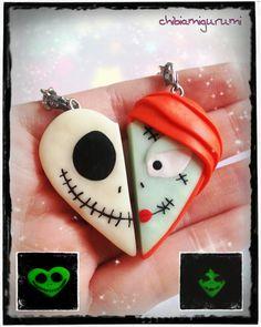 Halloween heart keychain polymer clay inspired Jack & Sally