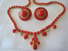 Red Rhinestone Enamel Earrings Necklace Set by VintagObsessions, $36.00
