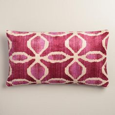 $23.One of my favorite discoveries at WorldMarket.com: Oversized Pink Ikat Velvet Taza Lumbar Pillow