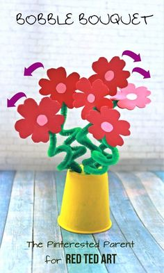 """Easy Flower Bouquet Craft - a perfectly LOVELY Valentine's Day Bouquet or Mother's Day Craft. Love that they """"bob"""" and """"bounce"""" when you give them a little wiggle. So cute. Love Flower crafts for kids #flowers #flowercraft #bouquet #kidscrafts #mothersday #valentines #valentinesday"""