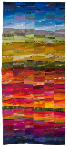 Autumn, Sonoma County, 78 x by Janet Windsor as seen at Studio Art Quilt Associates - rainbow quilt Quilting Projects, Quilting Designs, Landscape Art Quilts, Landscapes, Abstract Landscape, Quilt Art, Art Quilting, Quilting Fabric, Rainbow Quilt
