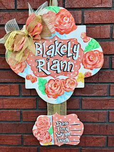 This design can be customized to match your bedding decor or room decor. It can be made for any room Approximately 24 Baby Door Hangers, Wooden Door Hangers, Wooden Door Signs, Wooden Doors, Wood Signs, Middle Names For Girls, Girl Names, Cute Baby Names, Girl Sign