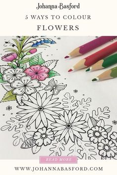 Flower Drawing My new adult colouring book, World of Flowers is out, so I though I would share a colouring tutorial on how to colour flowers Coloring Book Art, Coloring Tips, Colouring Pages, Adult Coloring, Colouring For Adults, Colored Pencil Tutorial, Colored Pencil Techniques, Diy Collage, Johanna Basford Coloring Book