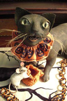 Signed Original Vergie Lightfoot halloween ooak black folkart cat & mouse  #Americana
