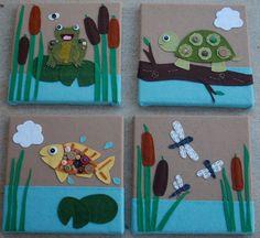Four piece pond animal wall art || ThreeGeese