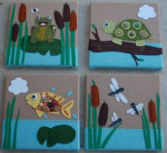 Four piece pond animal wall art || ThreeGeese