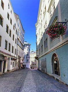 Street In Old City, Linz, Austria by Elenarts - Elena Duvernay photo Blue Sky Photography, Austria Travel, Famous Places, Old City, Travel Photos, Fine Art America, Portfolio Pdf, Street, Artwork