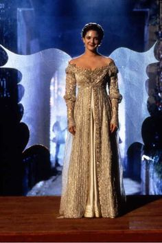 """Drew Barrymore as Danielle De Barbarac, wearing the Breathe gown, by Jenny Beavan, costume from the movie """"Ever After: A Cinderella Story"""". Movie Wedding Dresses, Wedding Movies, Dress Wedding, A Cinderella Story, Cinderella Costume, Drew Barrymore, Masquerade Gown, Masquerade Costumes, Moda Medieval"""
