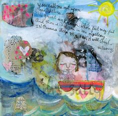 Oceans Deep  mixed media art print by Mindy Lacefield by timssally, $18.00