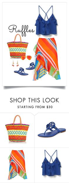"""""""Breezy"""" by patricia-dimmick on Polyvore featuring Sensi Studio, Tory Burch, Lauren Ralph Lauren, MANGO, summerstyle, ruffles and summerbrights"""