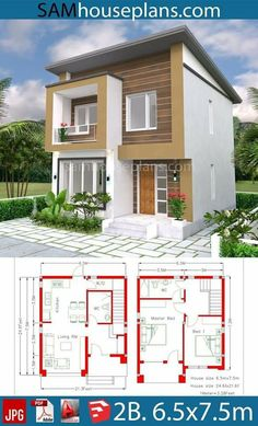 Home Design Plan 2 Bedrooms - SamPhoas Planetary architecture House Layout Plans, Dream House Plans, Modern House Plans, Small House Plans, House Layouts, House Floor Plans, 2 Storey House Design, Small House Design, Modern House Design