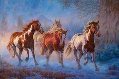 Twilight Run - Horses  Original Painting by Chris Cummings