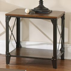 Square Solid Wood and Iron End Table Side Accent Furniture #Modern