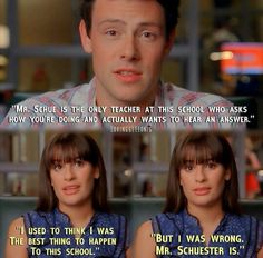 "Finn and Rachel about Mr Schue in Glee 2x07 ""The Substitute"""