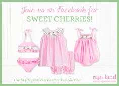 Our Rags Land Smocked Cherries Collection! Shop NOW at www.ragsland.com & follow Ragsland on Instagram!