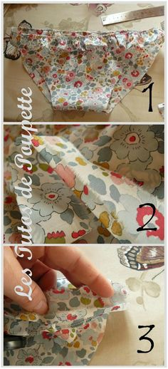 Une amie de ma môman m'a demandé si je n'avais pas dans ma GROOOOOOSSE réserve de patrons, celui d'une culotte de bain pour qu'elle puisse... Baby Couture, Couture Sewing, Sewing Kit, Baby Sewing, Fabric Patterns, Sewing Patterns, Sewing Ideas, Creation Couture, Liberty Print