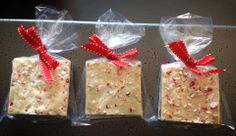Two yummy squares of Sweet Firefly's delicious peppermint bark tied up with a pretty red bow make a great gift for just $2.75 per bag, or four for $10. An affordable way to spread cheer!