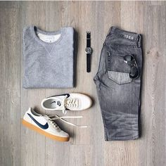 men's casual outfit stylish inspiration – Mode – Moda Mens Style Guide, Men Style Tips, Nike Killshot, Fashion Trends 2018, Daily Fashion, Mens Fashion, Outfit Grid, Inspiration Mode, Mens Clothing Styles